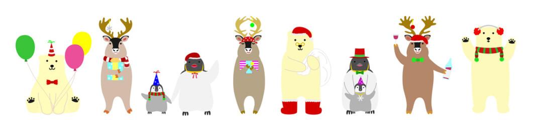 cute arctic animals banner