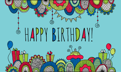 Happy birthday border doodle vector illustration with balloons, birthday cakes, candles, presents, bunting and abstract shapes on aqua background