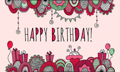 Happy birthday border doodle vector illustration with balloons, birthday cakes, candles, presents, bunting and abstract shapes on a pink background