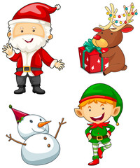 Christmas characters set on white background