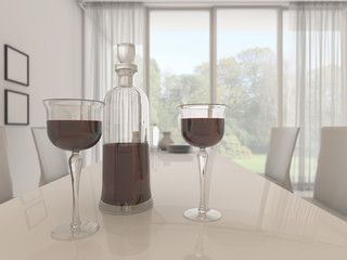 3d rendering depth of field nice glass and bottle of red wine in white bright dining room with beautiful view