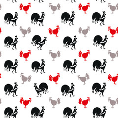 Hand drawn Roosters and Hens. Stylish animal seamless pattern.