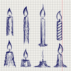 Ball ben sketch of candles on notebook page. Vector illustration
