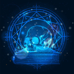 Esoteric concept of human skull on occult book on shining background. Vector illustration