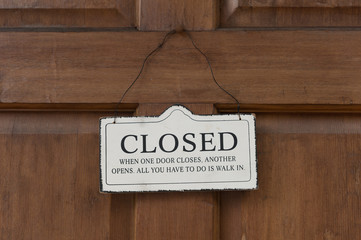 Vintage closed sign on a door