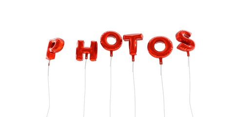 PHOTOS - word made from red foil balloons - 3D rendered.  Can be used for an online banner ad or a print postcard.