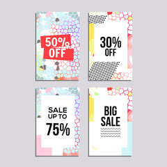 Sale website banners design set. Social media banners, posters, email and newsletter designs, ads, leaflets, placards, brochures, flyers, web stickers, promotional material vector illustration design