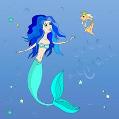 Cute cartoon mermaid and fish