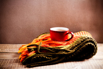 Scarf and cup of hot chocolate, warm concept
