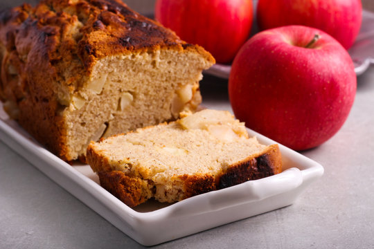 Spicy apple loaf cake, sliced