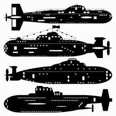 Navy. A set of paths submarines. Black and white illustration of a white background.