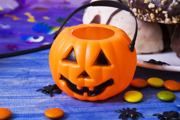 halloween candy on blue background