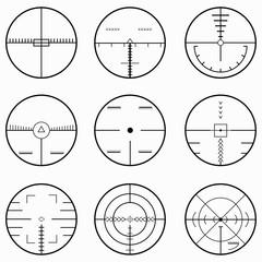 sniper scope isolated monochrome symbols