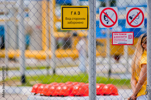 Fire Warning Signs Symbol Near Compressed Oxygen Gas Stock Photo