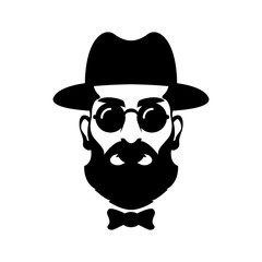 hipster head face vector illustration style Flat