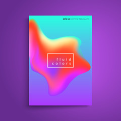 Fluid colors cover design. Abstract shapes composition. Eps10 vector template.