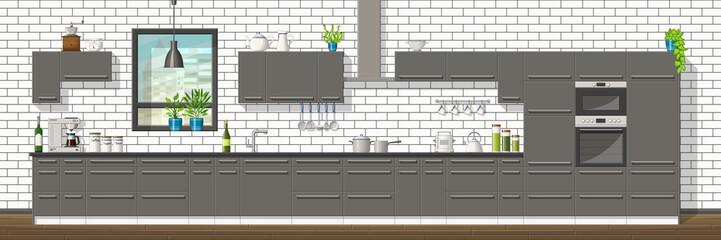 Illustration of interior equipment of a modern kitchen, panorama