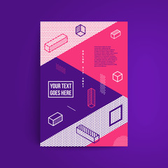 Future minimal geometric backgrund. Simple isometric shapes composition. Hipster colors. Original trendy design. Vector template.