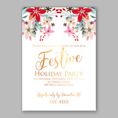 Merry Christmas party invitation with winter wreath. Pine, poinsettia Wedding Invitation Bridal shower invitation Baby Shower template card