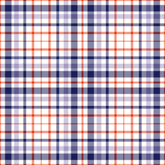 Seamless plaid pattern. Navy blue, red & violet plaid stripes on white.