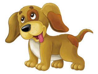 Cartoon happy dog is standing and looking - artistic style - isolated - illustration for children