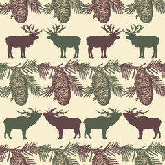 Christmas seamless pattern, reindeer and fir cones