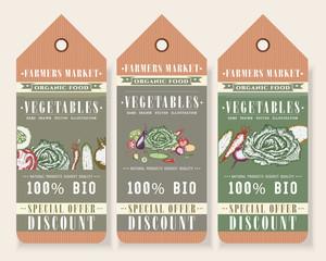 Vegetables tags healthy food design, big discount