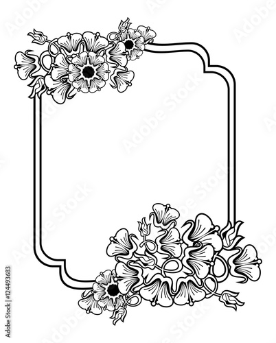 Vertical Contour Black And White Frame With Abstract Flowers Line