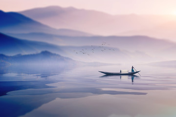 riding boat in the river of bangladesh on dreamy cloudy day Wall mural