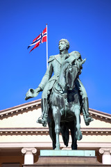 Statue of Norwegian King Karl Johan XIV in Oslo, Norway