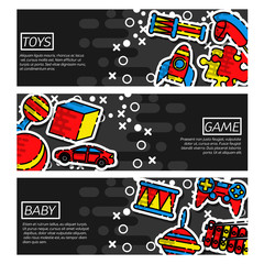 Set of Horizontal Banners about Toys