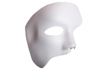 White Scary Halloween mask isolated on white background.