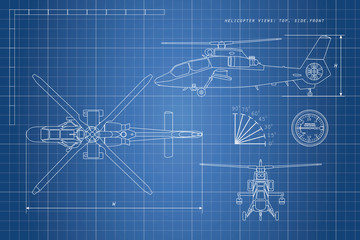 Engineering drawing of helicopter. Helicopters view: top, side,