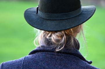 lady in hunting hat