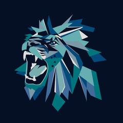 Vector illustration of geometric lion head on dark background