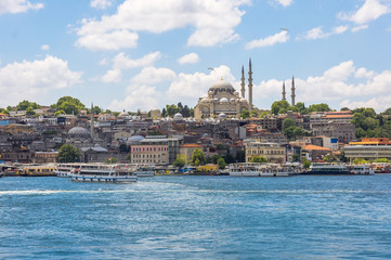 Sea front landscape of Istanbul historical part, the capital of Turkey. Eastern tourist city landscape.