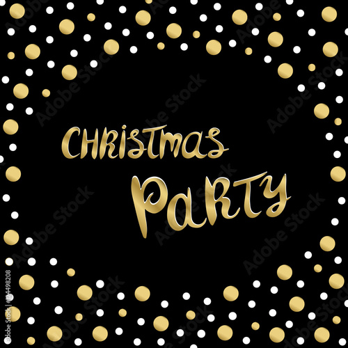 Merry Christmas Party Background With Gold Glittering Confetti