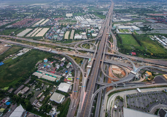 Highway junction from aerial view