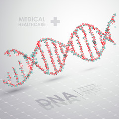 Abstract vector DNA formula. Medical health care background