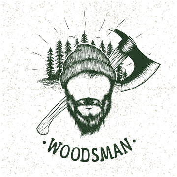 lumberjack with ax on forest background
