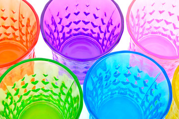 close up colourful glass on white bacground