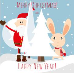 Christmas rabbit with Santa.