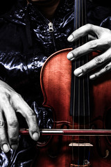 violinist hands posing on classical violin, art filter for music background