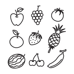 hand draw fruit set, vector