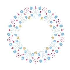 Round frame with doodle flowers