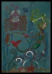 Mermaid underwater in their maritime world