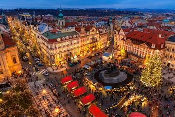 Old Town Square at Christmas time in Prague.