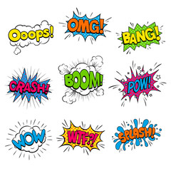 Vector Illustration of Colorful Sound Cartoon Effects