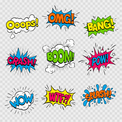 Vector Illustration of Colorful Cartoon Sound Effects