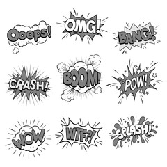 Vector Illustration of Sound Cartoon Effects